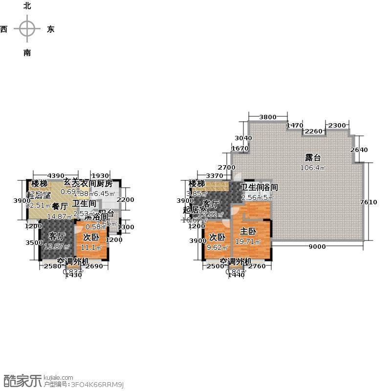 华发新城152.16㎡J1b上跃 三室二厅二卫户型3室2厅2卫