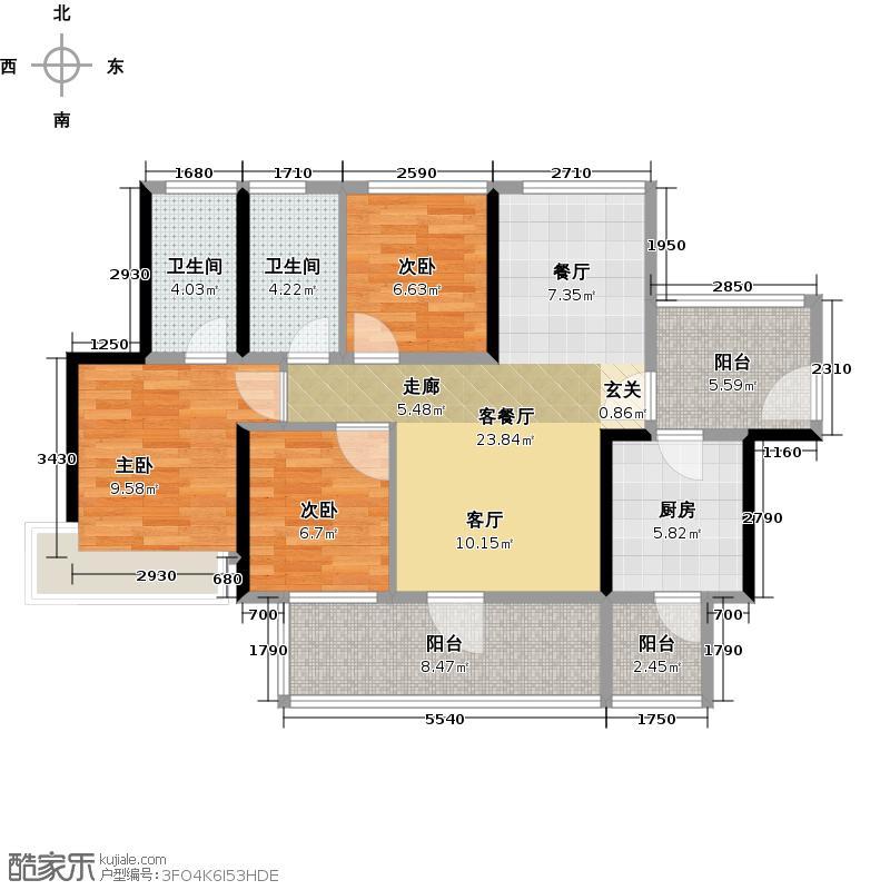 潜龙曼海宁(南区)2栋2-B3阳台户型3室1厅2卫1厨