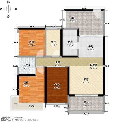潜龙曼海宁3室2厅1卫1厨88.00㎡户型图
