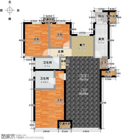 宝龙花苑3室0厅2卫1厨136.00㎡户型图