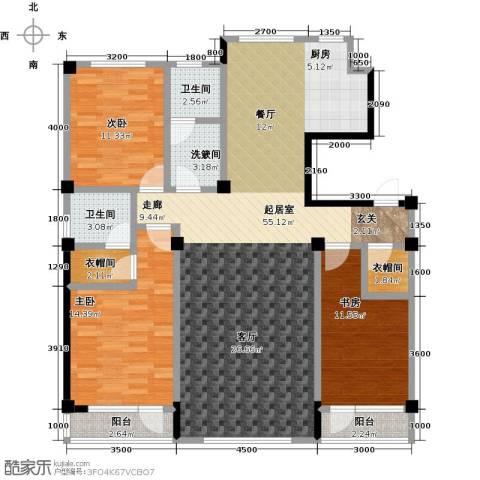 枫丹丽舍3室0厅2卫0厨135.00㎡户型图