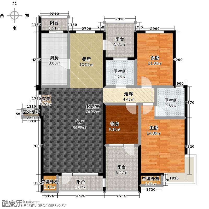 中拥蓝天下145.00㎡3室2厅2卫1厨户型
