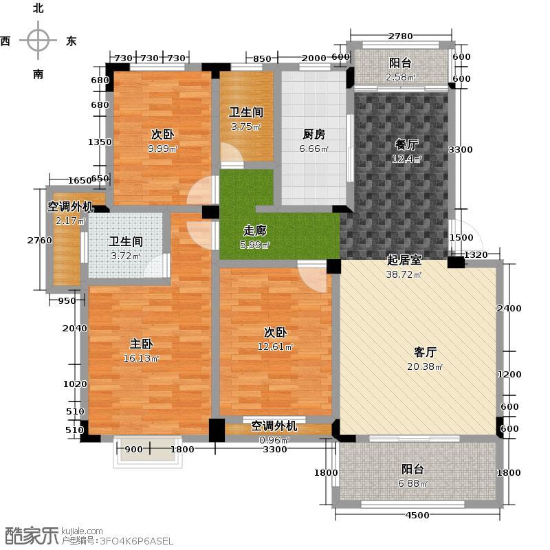 力高国际城117.90㎡Q3三室二厅二卫户型