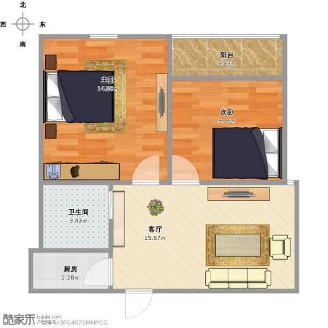 鸿泰苑2室1厅1卫1厨66.00㎡户型图
