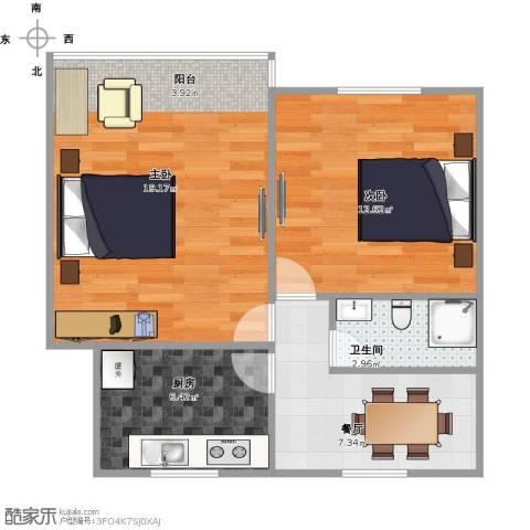 采荷一区2室1厅1卫1厨65.00㎡户型图