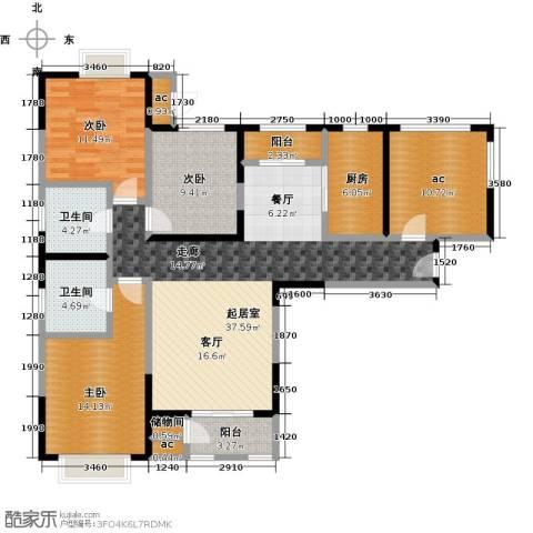 融科金月湾3室0厅2卫1厨129.00㎡户型图
