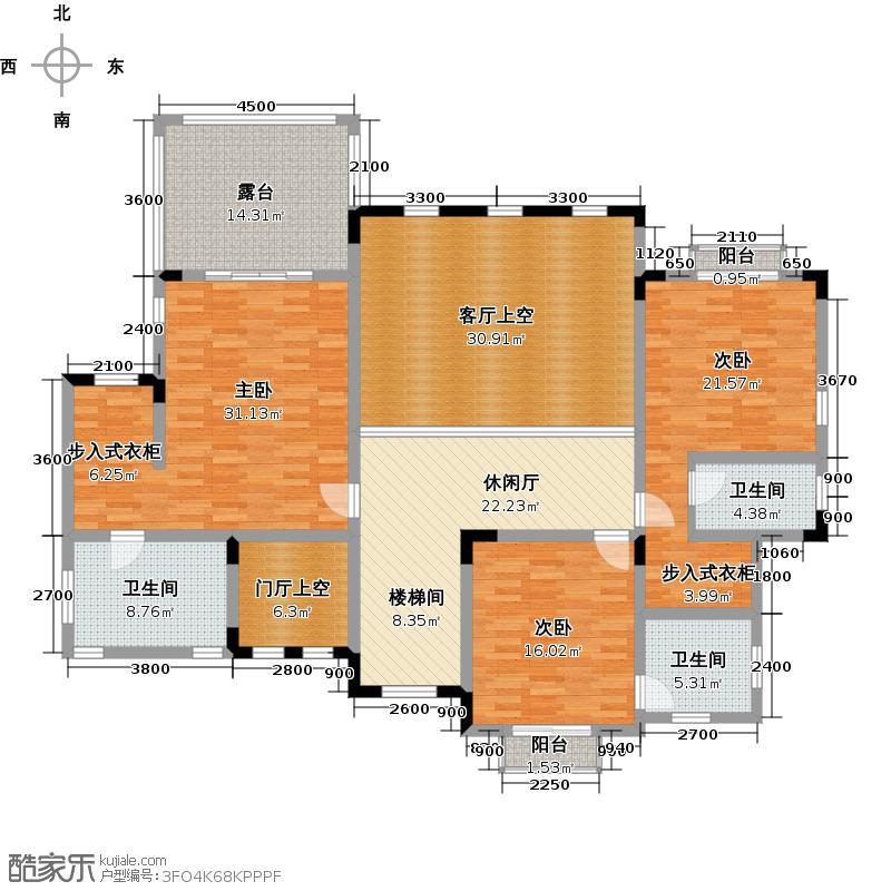 中国美林湖浅山溪谷G型二层户型3室3卫