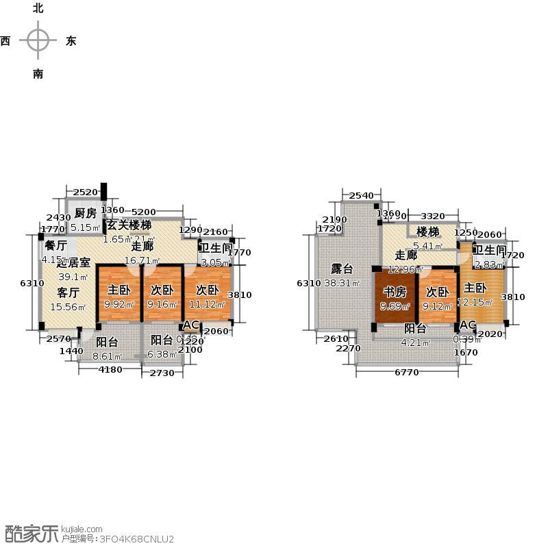 碧园南城故事177平米六房两厅两卫户型