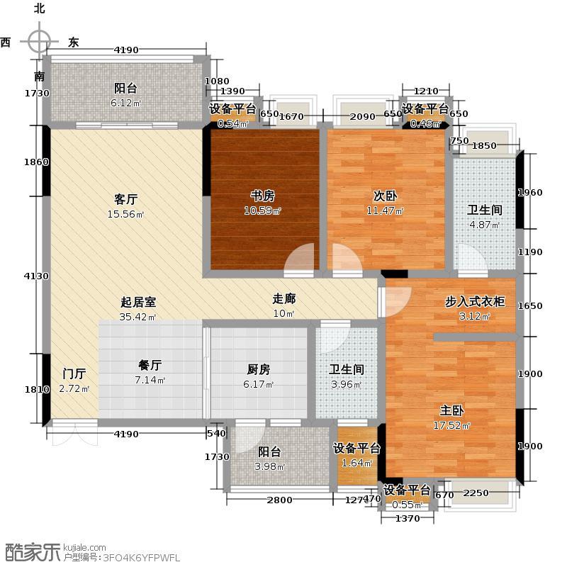 彰泰睿城118.00㎡C3户型3室2厅2卫