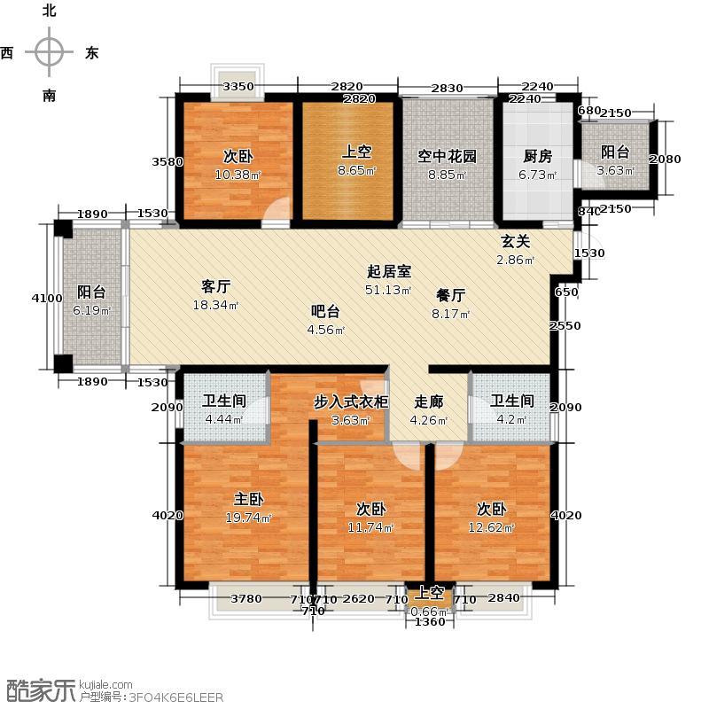 蝴蝶湾169.00㎡F户型5室2厅2卫QQ