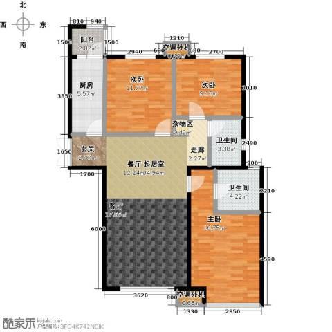 宝龙花苑3室0厅2卫1厨126.00㎡户型图