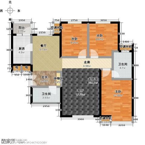 宝龙花苑3室0厅2卫1厨120.00㎡户型图