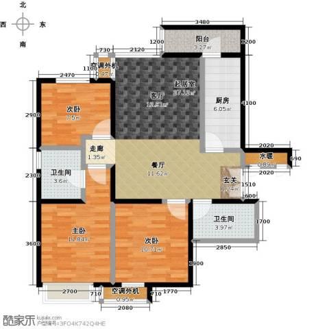 宝龙花苑3室0厅2卫1厨110.00㎡户型图