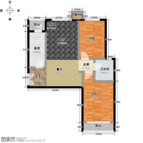 宝龙花苑2室0厅1卫1厨93.00㎡户型图