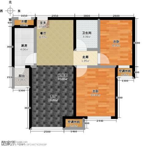 宝龙花苑2室0厅1卫1厨79.00㎡户型图