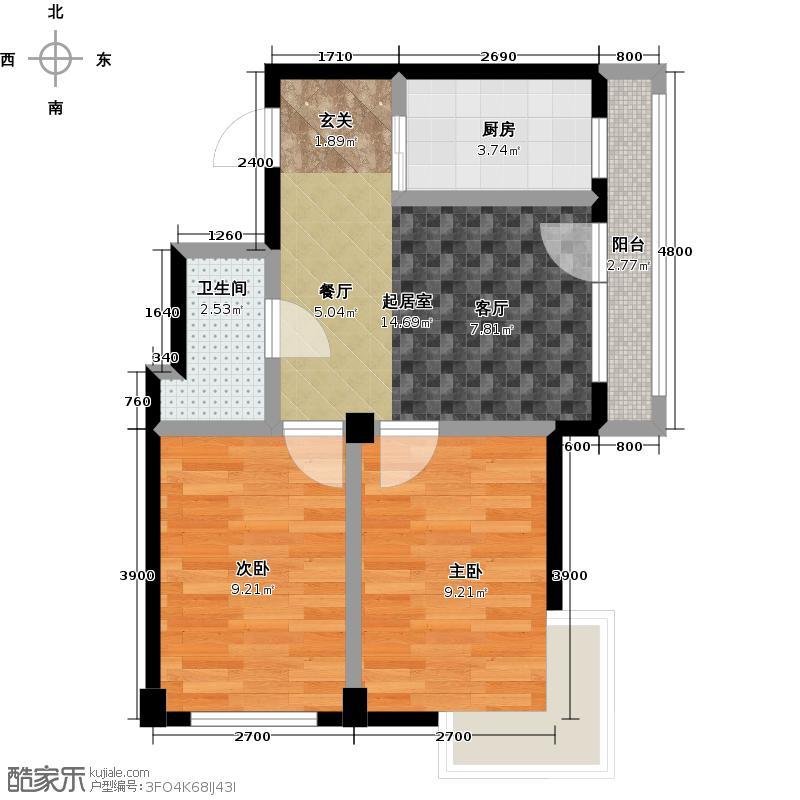 郁林海景花园68.61㎡G户型68.61-71.8两室两厅一卫户型2室2厅1卫