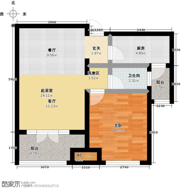世茂生态城高层B户型一室两厅一卫户型1室2厅1卫