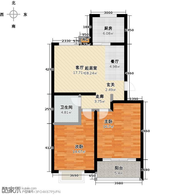 富东花园87.00㎡富东花园套二双南(温馨型)户型2室2厅1卫