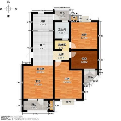 国际城月伴湾3室0厅1卫1厨121.00㎡户型图