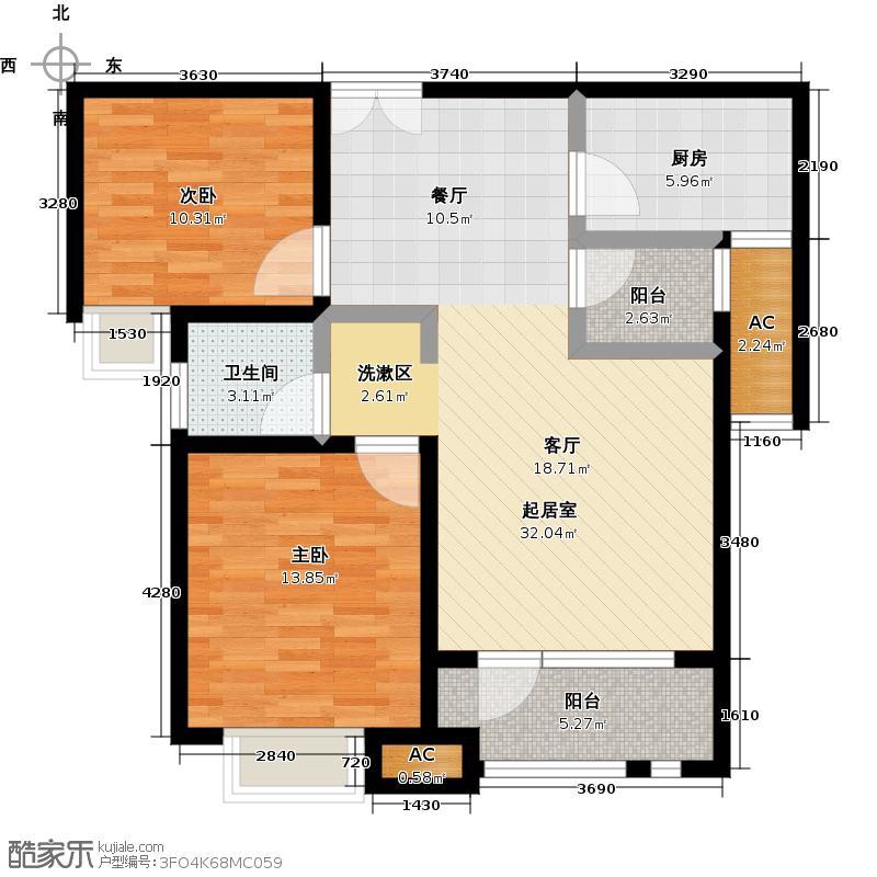 唐岛ONE89.00㎡F户型2室2厅1卫