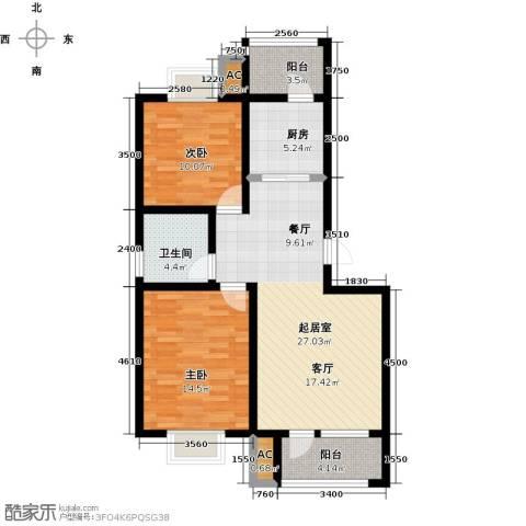 国际城月伴湾2室0厅1卫1厨90.00㎡户型图
