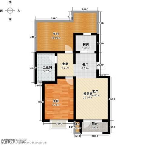 国际城月伴湾1室0厅1卫1厨73.00㎡户型图