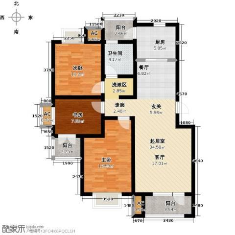 国际城月伴湾3室0厅1卫1厨113.00㎡户型图