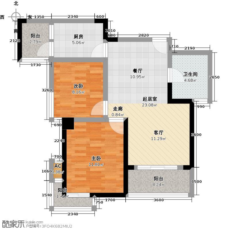 黄浦公馆90.54㎡A-2户型 2室2厅1卫1厨户型2室2厅1卫