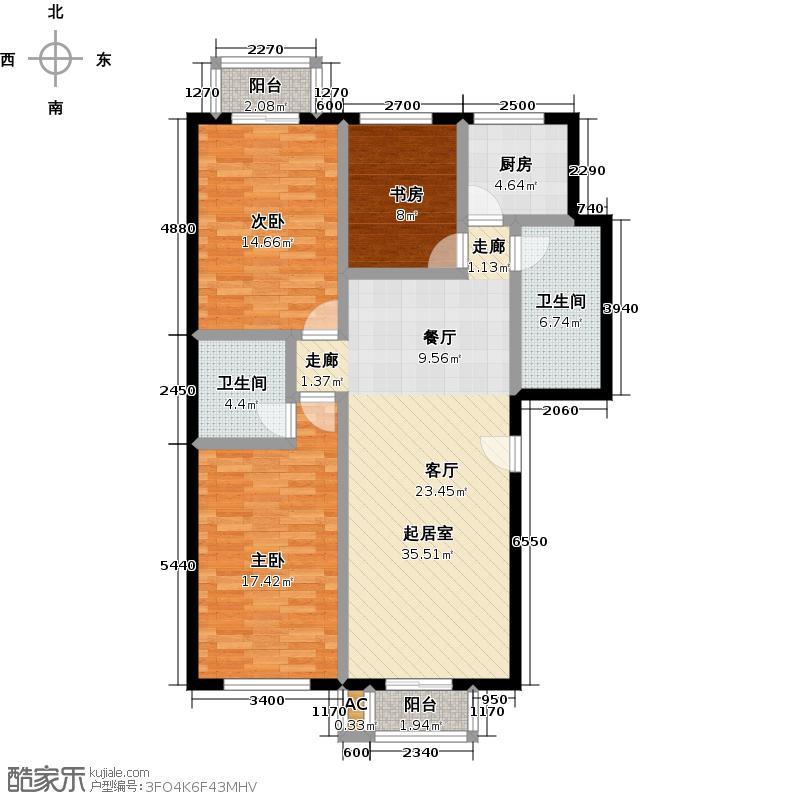 青岛印象金沙滩124.00㎡H户型3室2厅2卫