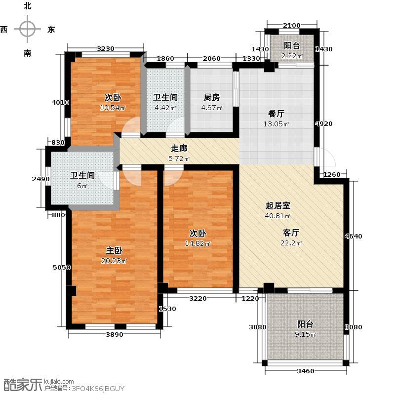 崂山水岸枫景三居室 3室2厅2卫1厨130㎡户型