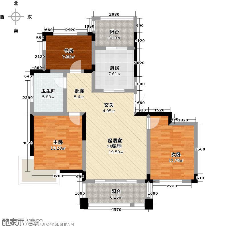 贵爵公寓95.00㎡F户型3室2厅1卫1厨户型