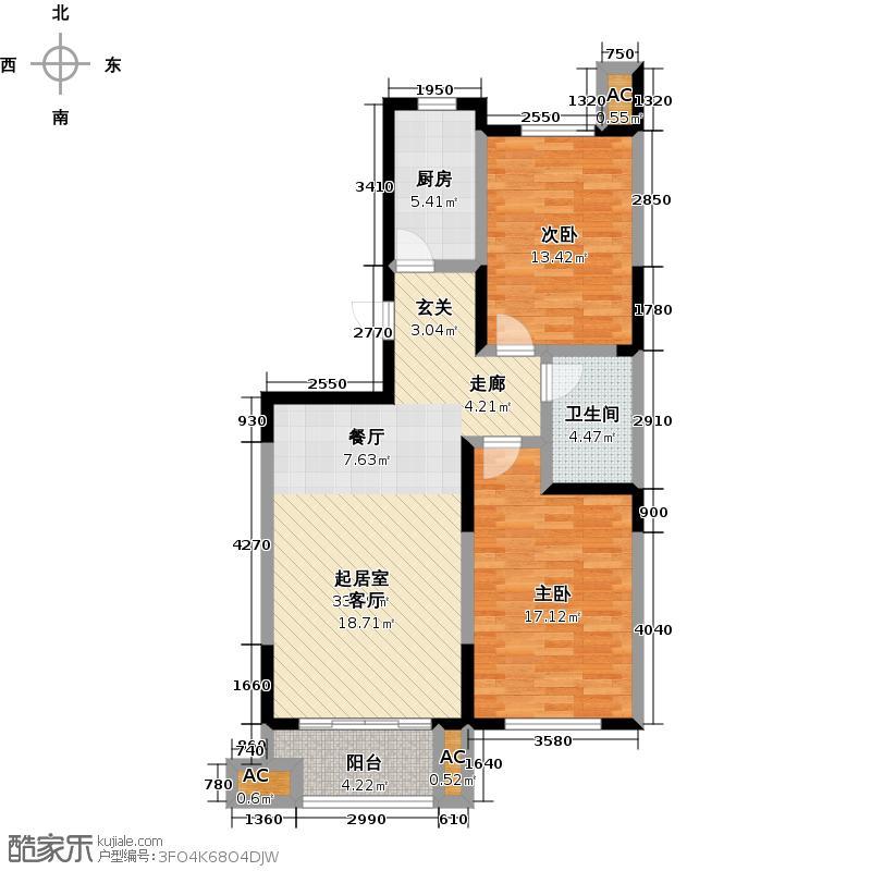 厚德森林国际91.00㎡AL两房两厅户型