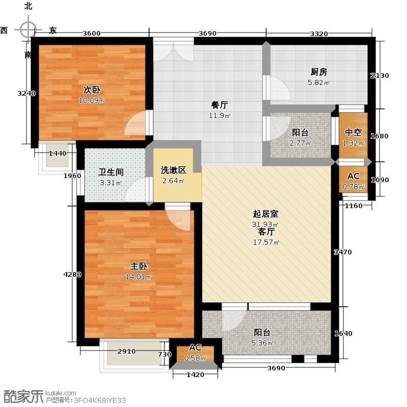 唐岛ONE89.00㎡户型F:观澜阁户型2室2厅1卫