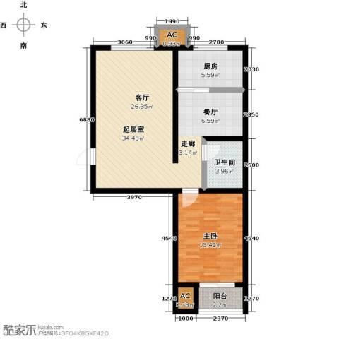 青城1室0厅1卫1厨70.00㎡户型图