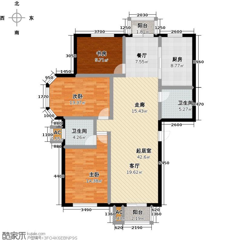 青岛印象金沙滩135.00㎡I户型3室2厅2卫
