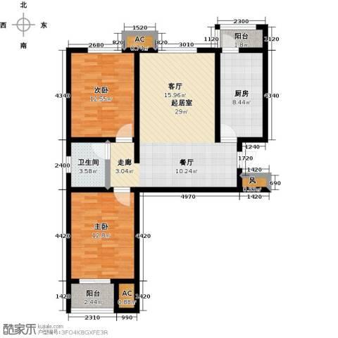 青城2室0厅1卫1厨86.00㎡户型图
