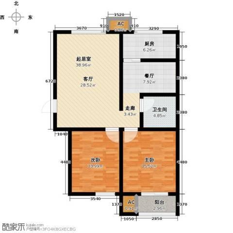 青城2室0厅1卫1厨97.00㎡户型图