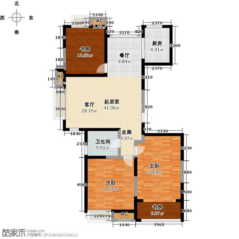 厚德森林国际124.00㎡AG户型-3室2厅1卫1厨户型