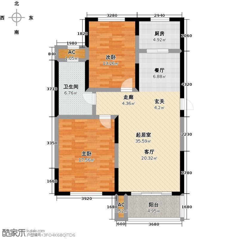 厚德森林国际BC户型-2室2厅1卫1厨97㎡户型