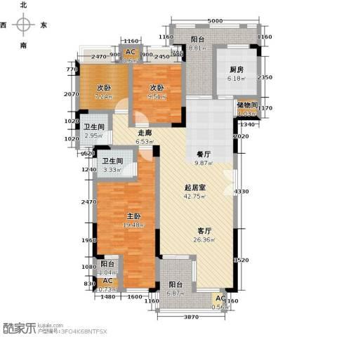 兰亭雅舍3室0厅2卫1厨138.00㎡户型图