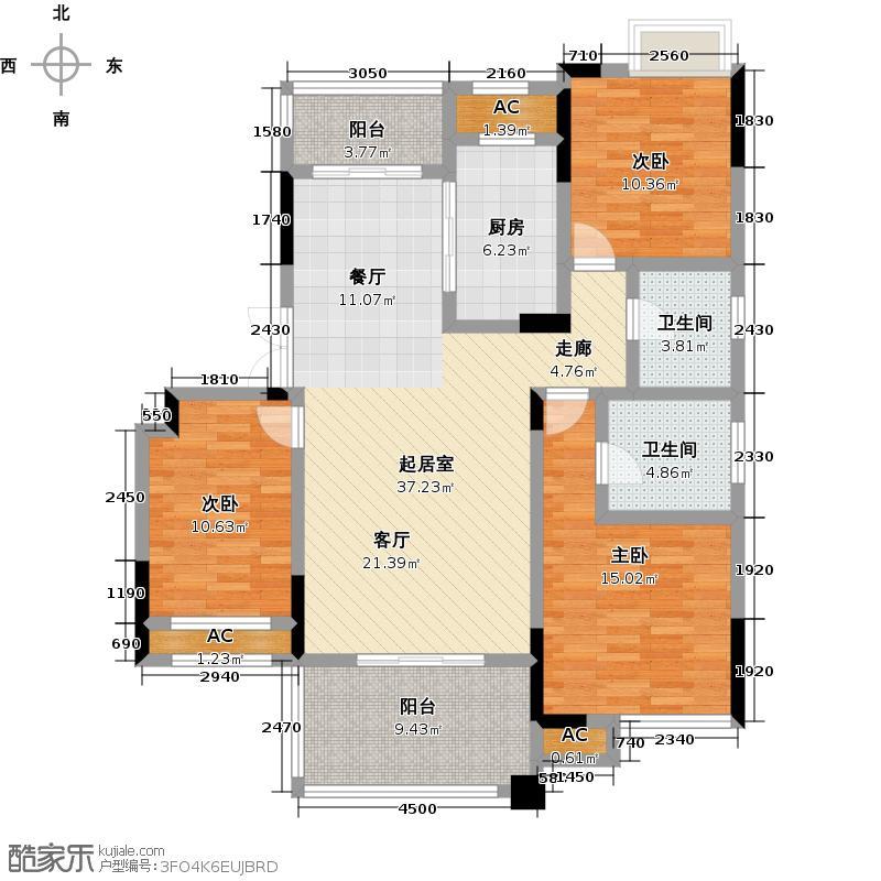 福星惠誉东澜岸129.12㎡F-2户型 3室2厅2卫户型3室2厅2卫