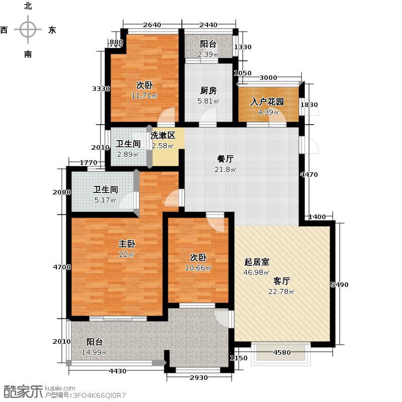 青特花溪地154.00㎡10#B1-1户型3室2厅2卫