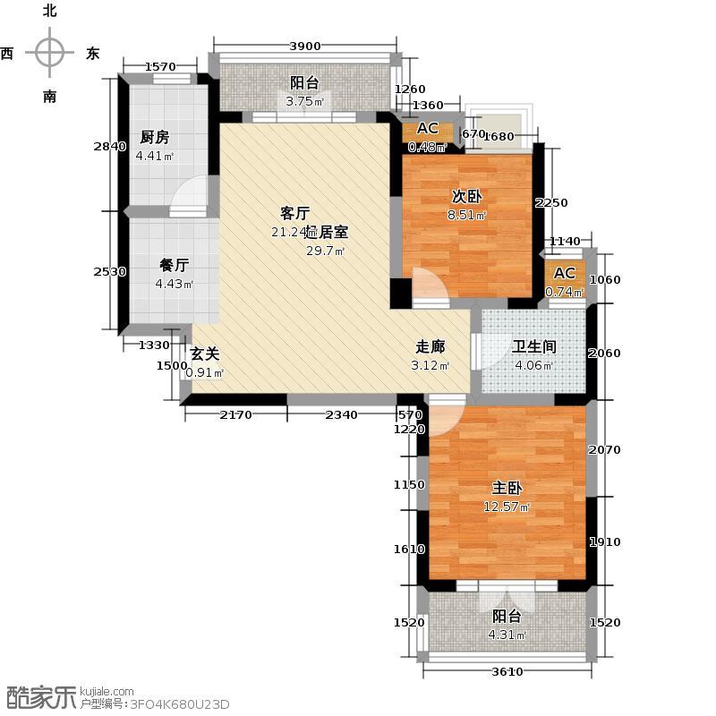 福星惠誉东澜岸138.00㎡A2户型 2室2厅1卫户型2室2厅1卫