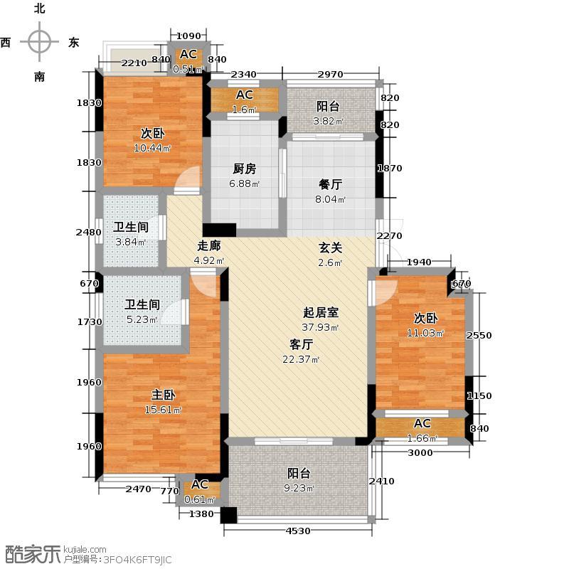 福星惠誉东澜岸130.00㎡M-2户型三室两厅两卫户型3室2厅2卫