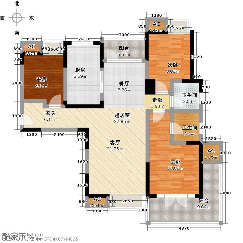 福星惠誉东澜岸138.00㎡A1a户型 3室2厅2卫户型3室2厅2卫