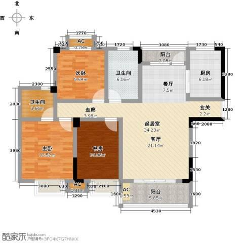 御景华府3室0厅2卫1厨130.00㎡户型图