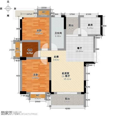 御景华府3室0厅1卫1厨106.00㎡户型图
