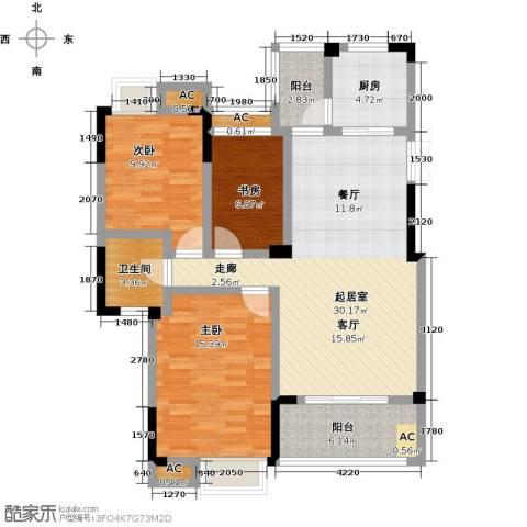 御景华府3室0厅1卫1厨107.00㎡户型图