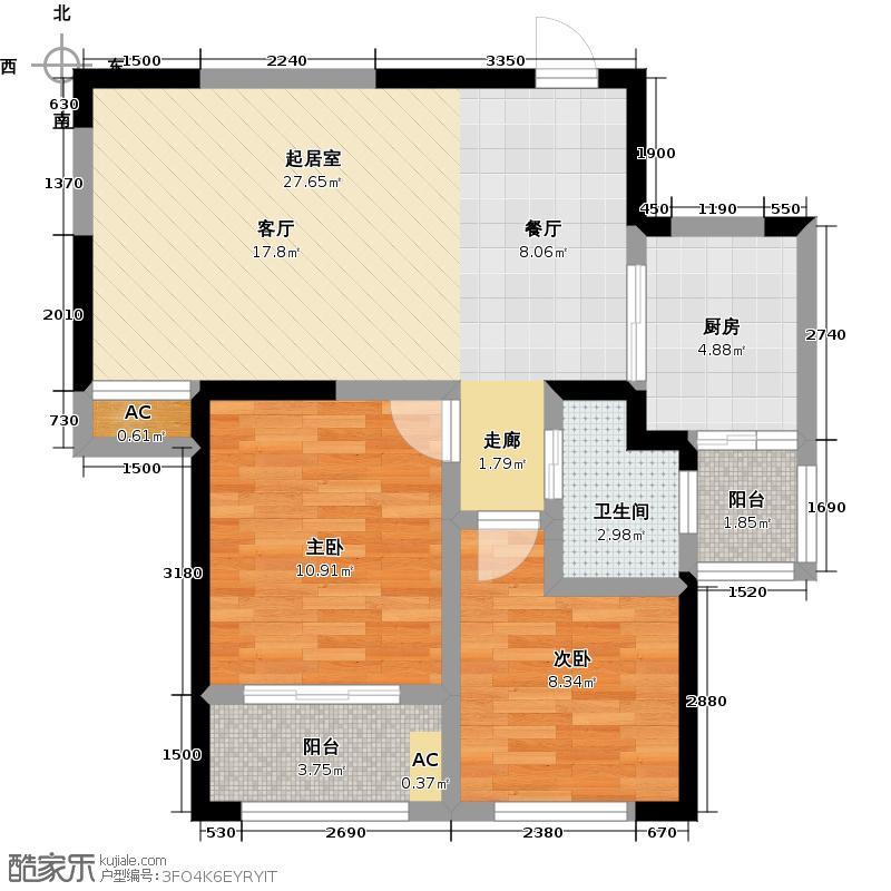 尚都一品84.00㎡H2户型 二房二厅一卫户型2室2厅1卫