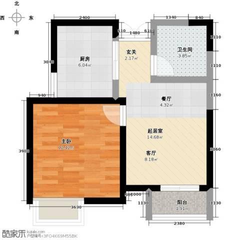 爱尚公寓1室0厅1卫1厨57.00㎡户型图